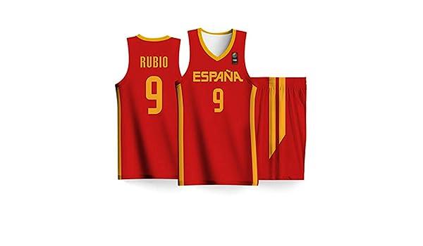 K/&Q Camiseta Ni/ño Ricky Rubio Selecci/ón Espa/ñola de Baloncesto Rojo 2019