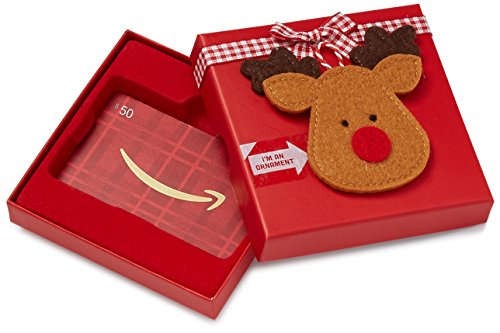 Large Product Image of Amazon.com $50 Gift Card in a Reindeer Ornament Gift Box