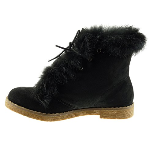 Ankle Angkorly Topstitching Heel Boots Finish Fur Black Seams Booty cm 5 High Women's Shoes 2 Block Fashion CqtcwrUC