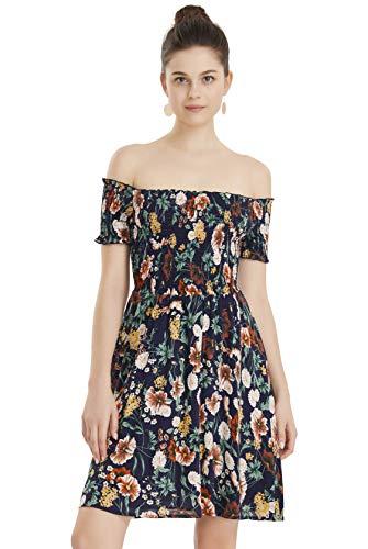 - Apperloth Easter Dresses for Women Off The Shoulder Flower Print Cocktail Spring Mini Dress Plus Size Dark Blue