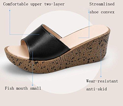 BFMEI Antiscivolo Alto nero Estivi con Esterno Sandali Spessa Tacco Scarpe da Sandali Donna Crosta Sandali Muffins Abbigliamento 7grqZ7w