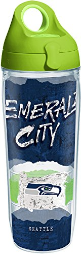 Tervis 1251839 NFL Seattle Seahawks NFL Statement Tumbler with Wrap and Lime Green Lid 24oz Water Bottle, Clear