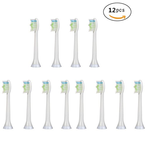 V-Bay Premium Replacement Toothbrush Heads for Philips Sonicare DiamondClean HX6064/05/07/16/26/64(HX6062,HX6063/64) Standard Size Toothbrushes ,White, 12 (Target Halloween 75 Off)