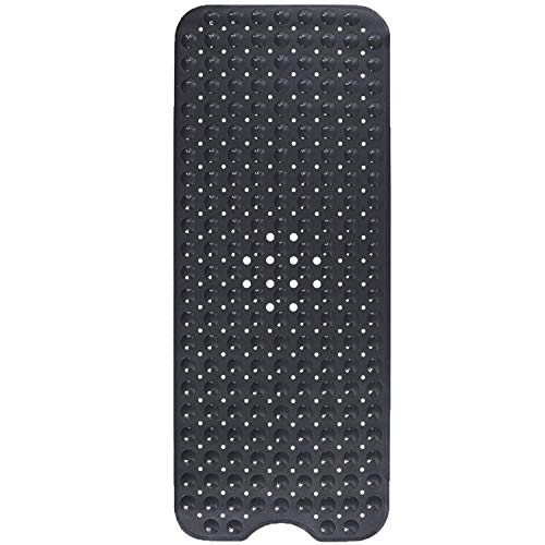 Yimobra Original Bath Tub and Shower Mat Extra Long 16 x 40 Inches, Non-Slip with Drain Holes, Suction Cups, Phthalate Free, Latex and Machine Washable, Bathroom Mats Black