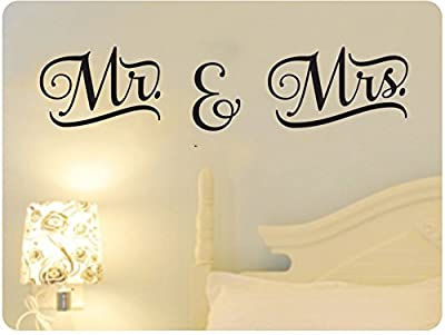 "48"" Mr. And Mrs. Wedding Marriage Word Saying Wall Decal Sticker Art Mural Home Décor Quote Bedroom Love"