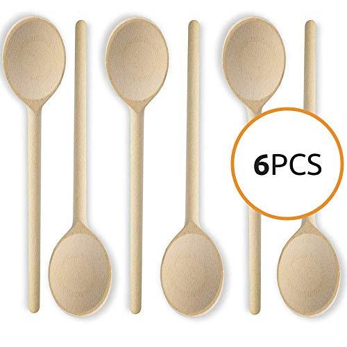 h Wooden Kitchen Spoons Baking Mixing Serving Utensils Bulk Spoon Puppets Beechwood - Long Handle - Set of 6 ()