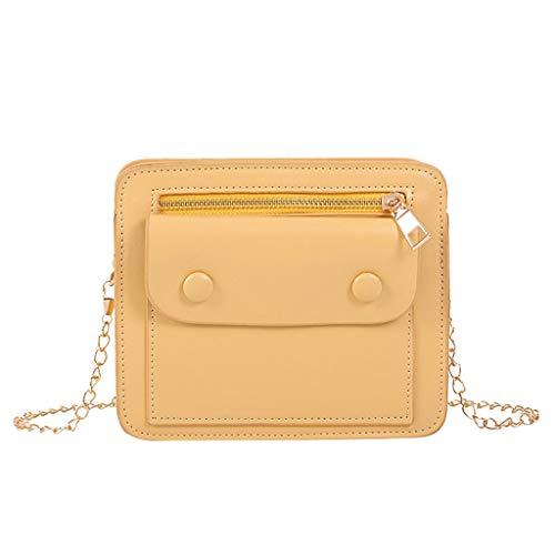 2DXuixsh Fashion Classic Metal Chain Purse for Women Crossbody Shoulder Bag PU Messenger Business Portable Small Satchel Yellow