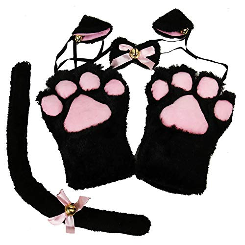 Cute Anime Lolita Neko Cat Cosplay Plush Costume Set - Ears Tail Collar Paws ()