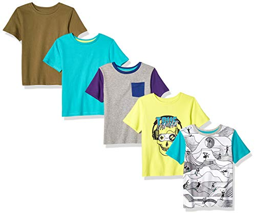 Amazon Brand - Spotted Zebra Boys' Kid 5-Pack Short-Sleeve T-Shirts, True Gamer, X-Large (12)