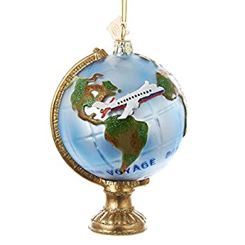 Amazon.com: Kurt Adler Noble Gems Globe with Airplane Christmas ...