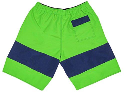 NONETZ Anti-Chafe Men's Swim Trunks No Mesh & No Net Swimming Shorts | Male Swimwear Rash Prevention | Antibacterial Trunk Lining | No Spandex & No Lycra | Electric Lime/Navy | Large