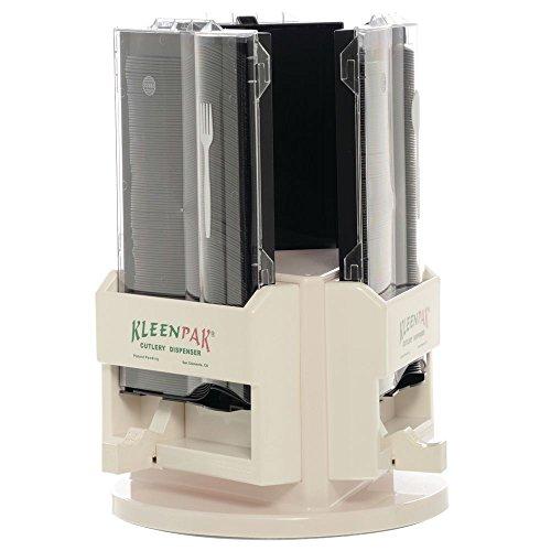 Utensil Dispenser Carousel 3-Station Plastic Beige - 12 1/2 Dia x 9