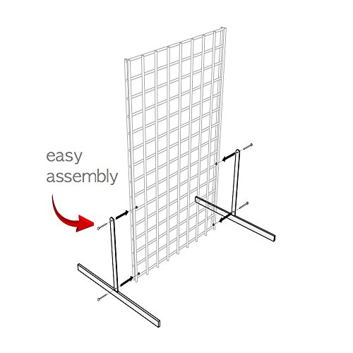 White Gridwall T Base Rectangular Tube With Levelers (Set of 3 Pairs) White Finish … by Only Hangers (Image #1)