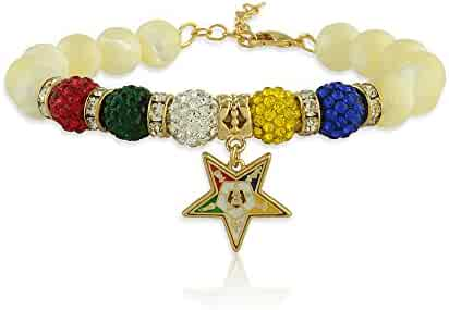 4b910cbf2 The Masonic Depot Order of the Eastern Star Mother of Peal Gemstone Charm  Bracelet with Gold