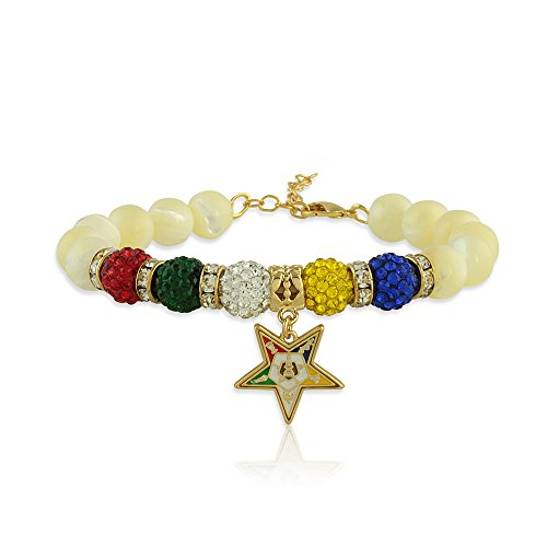 Order of The Eastern Star Mother of Peal Gemstone Charm Bracelet with Gold Tone Extender Chain and Lobster Claw Clasp (Fits Wrists 7 to 9.5 inches)