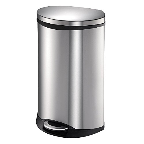 EKO Shell 50 Liter / 13.2 Gallon Semi-Round Step Trash Can, Brushed Stainless Steel Finish