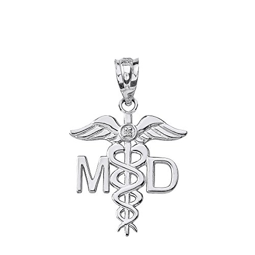 925 Sterling Silver Caduceus MD Charm Medical Doctor CZ Pendant ()