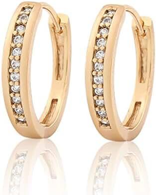 GULICX Women Girls Hoop Earrings Gold Tone Round Zircon Pave Setting Diameter 23mm