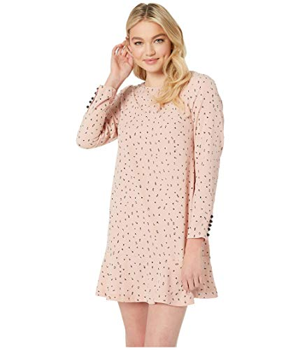 kensie Women's Dainty Animal Print Dropwaist Dress, Rosy Nude Combo, S