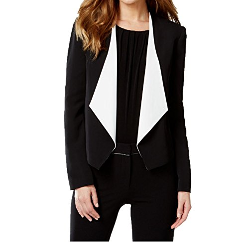 Calvin-Klein-Womens-Black-Colorblocked-Draped-Blazer-Black-size-16
