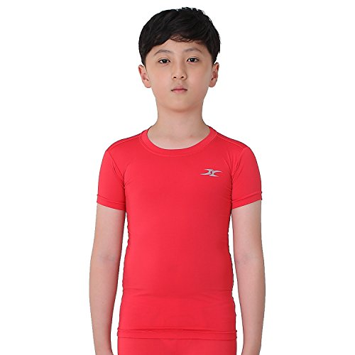 - Kids Compression Shirt Underwear Boys Youth Under Base Layer Short Sleeve Top SK RD S