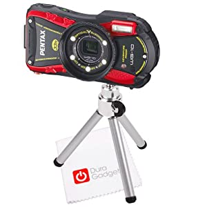 DURAGADGET Portable Lightweight Collapsible Mini Camera Tripod + BONUS Cleaning Cloth for Pentax Optio WG-1, WG-2, WG-3, Ricoh WG-4, WG-10 & WG-20 (including all GPS Variants)