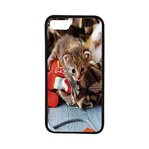 - Cats Rubber Phone Case,Kittens and Mittens Newborns Baby Animals in an Plain Blanket Wood Play Toys Adorable Compatible with iPhone 8
