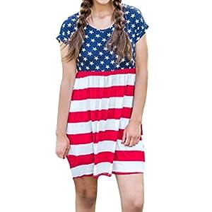 Women American Flag Shirt Dress Junior Shor Sleeve Beach Sundress (XL, Red)
