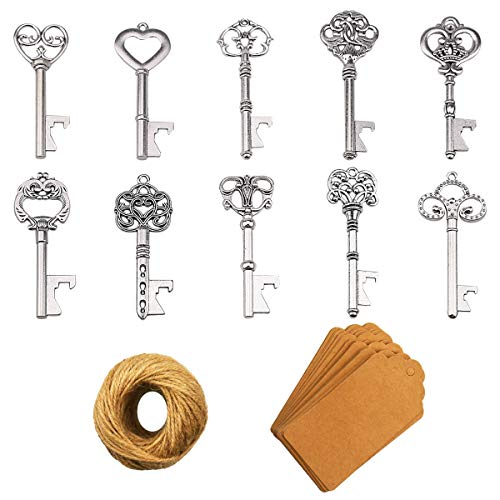 Key Bottle Openers - 50Pcs Vintage Skeleton Key Bottle Opener with Kraft Paper Gift Tags and Twine for Wedding Favors Antique Rustic Party Decoration (10 Styles, Silver)