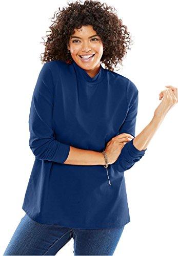 Woman Within Women's Plus Size Long Sleeve Modern Stretch Knit Mock Turtleneck (Cotton Knit Mock Turtleneck)