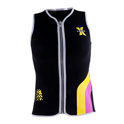 Prettyia Women's Wetsuits Vest Premium Neoprene 3mm Sleeveless Front Zipper Jacket Top for Scuba Diving Surfing Swim Snorkel Suit - Black, XL