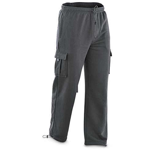 North Pole and More New Mens Cargo Sweat Pants Track Fleece Heavy Weight M-2XL (Dark Gray, L)