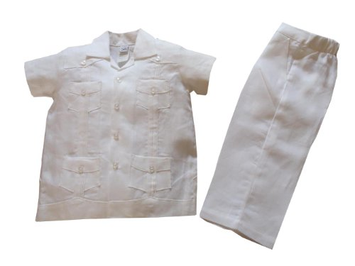 Aby's Kids Boys Guayabera Set White 6 by Aby's Kids