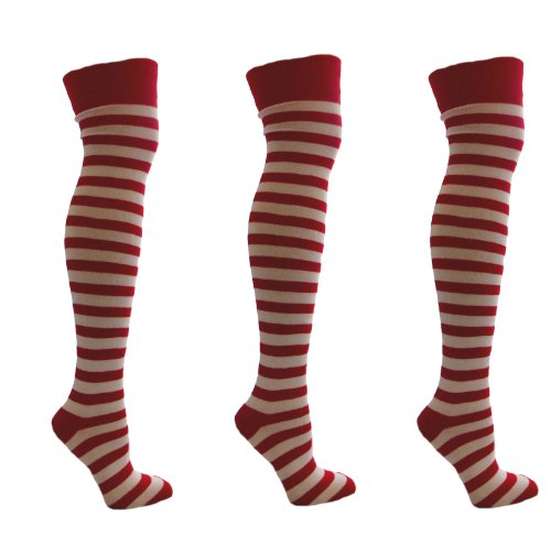 3 Pairs Red & White Stripey Over the Knee Socks Size 4-7 EUR 35-41