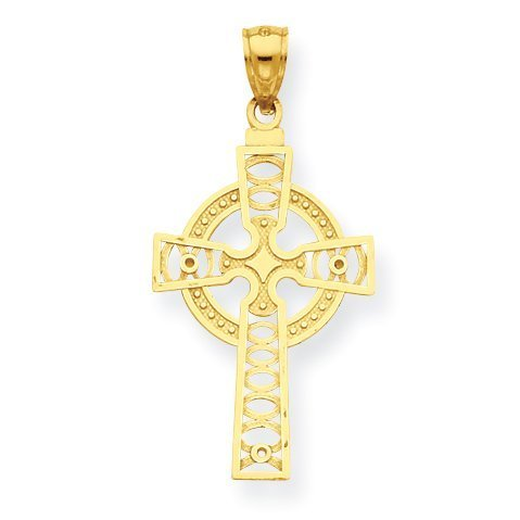White Gold Large Celtic Cross - 4