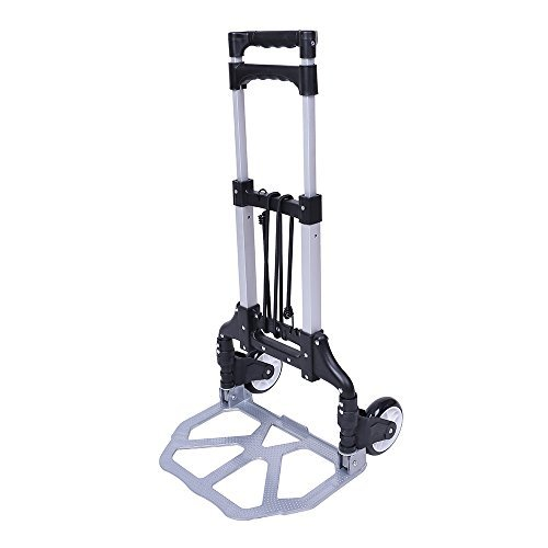 - Heavy Duty Aluminium Folding Luggage Trolley Lightweight Foldable Small Sack Truck Folding Hand Truck Hand Luggage Cart Trolley with Two Bungees and PU Wheels 60Kg