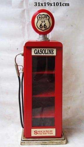 Armadietto da parete in stile vintage colore: rosso Route 66 con colonna di benzina