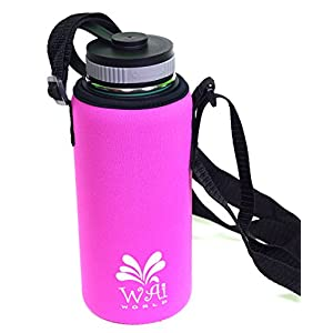 Insulated Water Bottle Carrier for Hydro Flask, Klean Kanteen, Pink, 32 oz