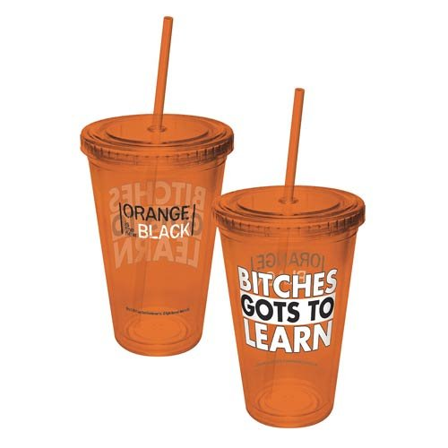 ICUP Orange is The New Black Bitches Cup with Straws, Clear