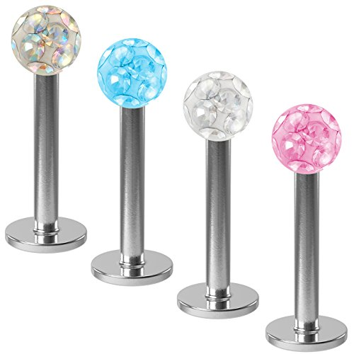 [Ferido Gem Labret Studs 316L Surgical Steel Lip Rings Monroe x 4 pack set by BLING UNIQUE] (Disturbed The Guy Costume)