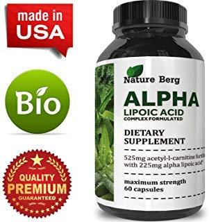 ALA + ALC Supplement - Alpha Lipoic Acid + Acetyl L Carnitine - Antioxidant Cellular Health + Repair Pills - Glucose Metabolism for Energy + Improve Cognitive Memory + Nerve Health - Nature Berg