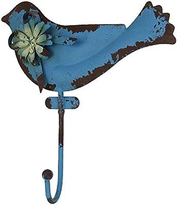 MACOSA HOME Ganchos de Pared Pájaro Vintage Retro Envejecido Azul rostig Perchero Toalla Gancho de decoración para Interior y Exterior en el jardín