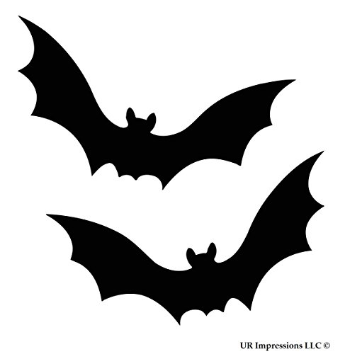 UR Impressions Blk Bat Halloween 2-Pack Decal Vinyl Sticker Cars Trucks SUV Vans Walls Windows Laptop|Black|7.5 X 4.5 Inch|URI073 ()