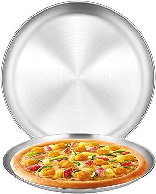 Bandejas Pizza Juego, BESTZY Bandeja Horno Pizza, Juego Bandejas para Hornear Pizza Antiadherente para Platos de Pizza de Acero al Carbono, 26,2 x 1,5 cm/14,2 x 1,2 cm - 2 Piezas: Amazon.es: Hogar