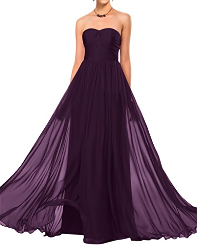 Bride Empire Chiffon Grape Dress Length Angel Modest Floor Sweetheart Bridesmaid RqxdwX