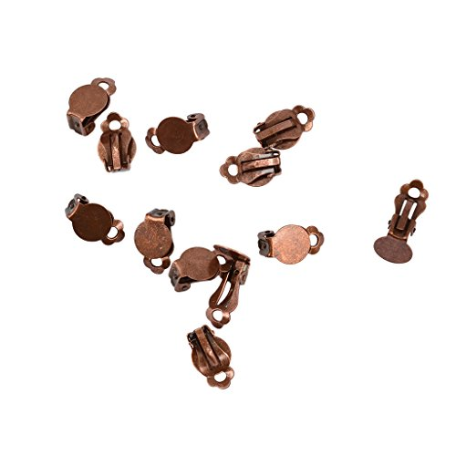 (Jili Online 12Pcs French Ear Clip on Glue on Empty Pad Base Enamel Earrings Findings DIY -)