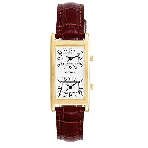 Gotham Men's Gold-Tone Dual Time Zone Leather Strap Watch # - Dual Strap Time