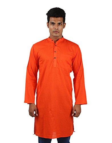Eye-Catching Cotton Orange Kurta Striped Self Weaved Indian Festival Traditional Wear Dress