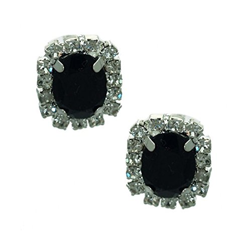 Stunning Silver tone Jet Crystal Post Earrings