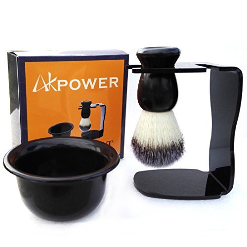AKPOWER Shaving Brush Set with Drip Stand and Shaving Soap Bowl